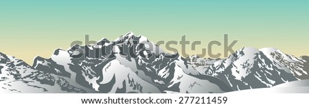 Snowy mountains in the evening. Vector illustration - stock vector