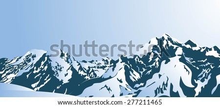 Snowy mountains in the morning. Vector illustration - stock vector