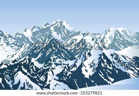 Snowy mountains in the morning. Vector illustration of winter mountain peaks. - stock vector