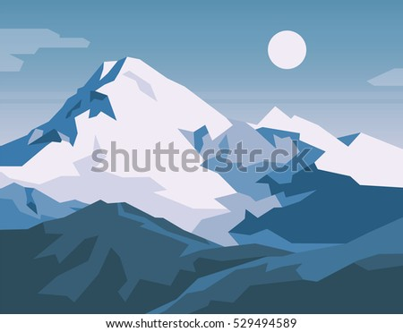 Snowy mountains landscape. Vector illustration.