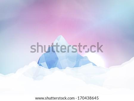 Snowy mountains - Vector Illustration - stock vector