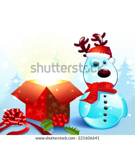 Snowy reindeer christmas background with gift - stock vector