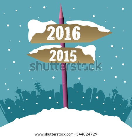 Snowy signpost with two brown arrows indicating two different directions and the years 2016 and 2015 written on each arrow. Passing into the new year concept