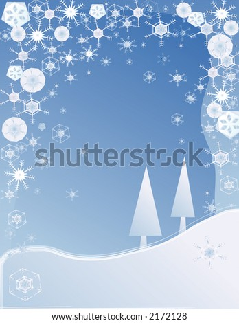 snowy winter background with trees and snowflakes