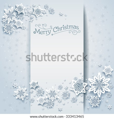 Snowy winter holiday card. Festive design for card, banner, invitation, leaflet and so on. - stock vector