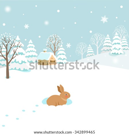 Snowy winter landscape with rabbit - stock vector