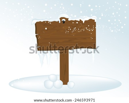 Snowy wooden signpost with icicles - stock vector