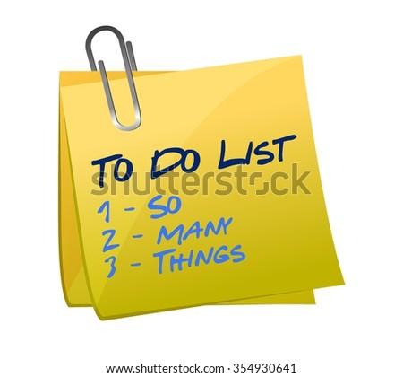 so many thing to do list illustration memo post design - stock vector