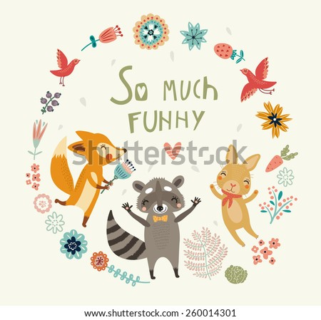 So much funny! Cute background - stock vector