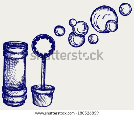 Soap bubbles. Doodle style - stock vector