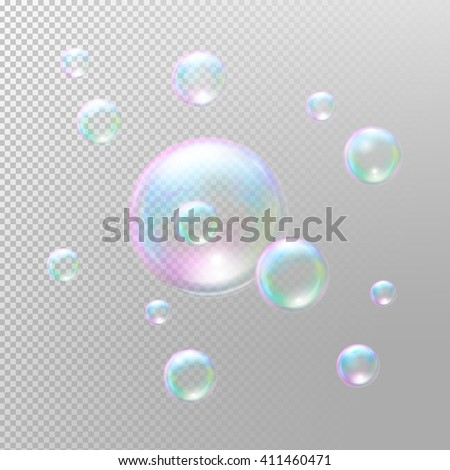 Soap bubbles. Realistic Soap bubbles. Transparent Soap bubbles. Soap bubbles 3D. Rainbow reflection Soap bubbles. Vector Soap bubbles