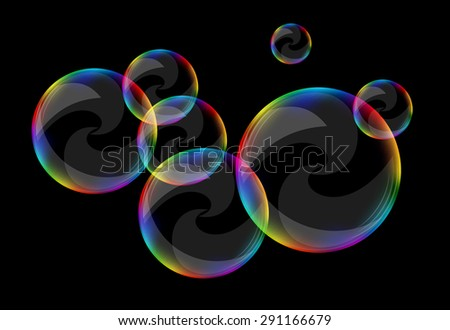 soap bubbles set against a black background clear curls - stock vector