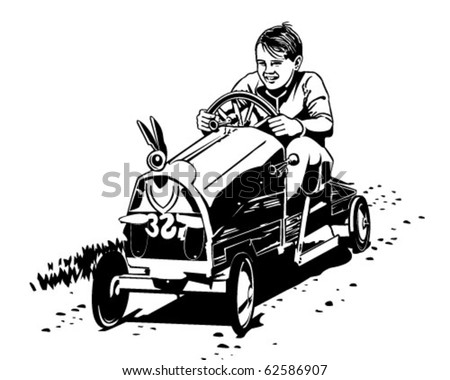 Soapbox Racer - Retro Clipart Illustration - stock vector