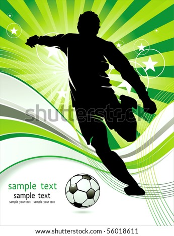 Soccer Action player. Original Vector illustration sports series. Abstract Classical football poster - stock vector