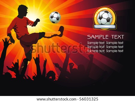 Soccer Action player. Soccer ball with crowd silhouettes of sport fans. Vector Football background with space for text. Abstract Classical football poster. - stock vector