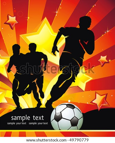 Soccer Action player. Team on beautiful Abstract Background. Original Vector illustration sports series. Abstract Classical football poster. - stock vector