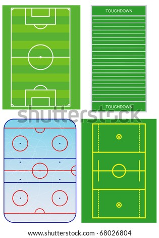 Soccer, american football, ice hockey and lacrosse fields. Vector illustration.