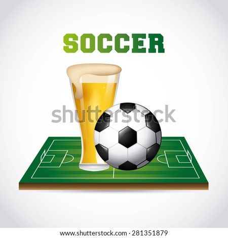 soccer and beer design, vector illustration eps10 graphic  - stock vector