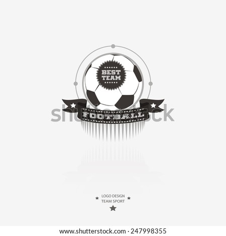 Soccer and football emblem, logo, badge with ribbon for sports design in black and white. - stock vector