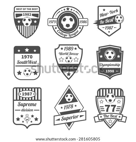 Soccer and football sport game label black set with ball and ribbons isolated vector illustration - stock vector