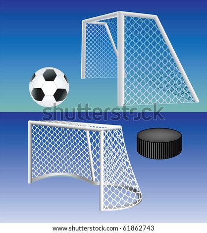 Soccer and hockey goals high detailed with ball and puck. Vector illustration. - stock vector