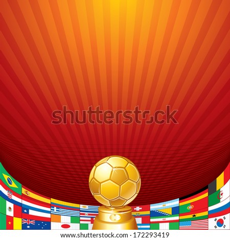 Soccer Background. Golden Cup and Flags of National Teams. Ready for Your Text and Design. - stock vector