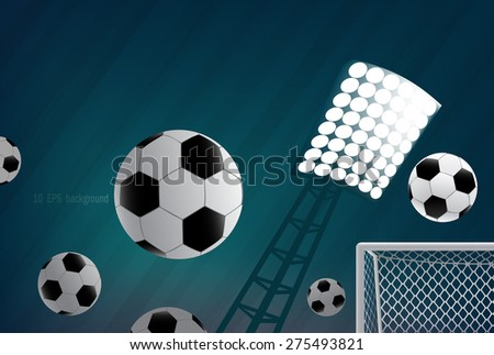 Soccer background with balls. - stock vector