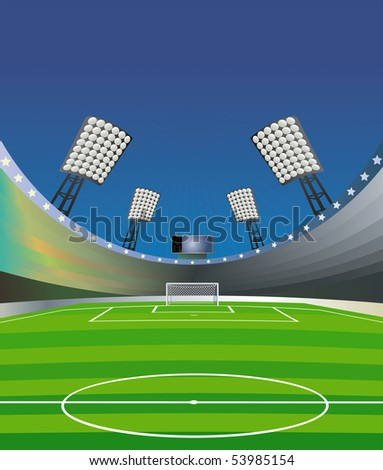 "Soccer background with stadium, field and detailed goal. ""Fish eye"" effect. Vector illustration. - stock vector"
