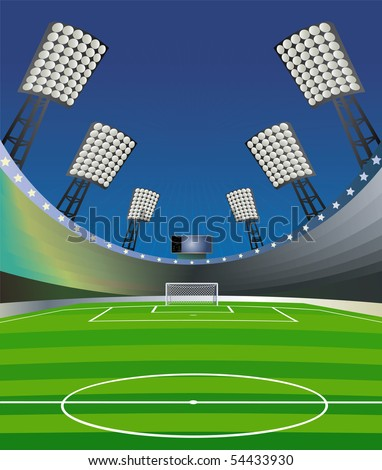 Soccer background with stadium. Vector illustration. - stock vector