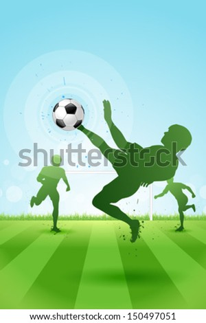 Soccer Background with three Players on Stadium. Original Vector illustration sports series. Classical football poster. - stock vector
