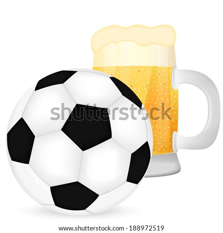 soccer ball and a mug of beer - stock vector