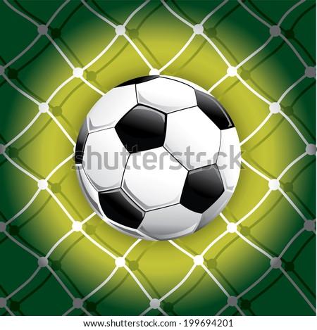Soccer ball and background goals soccer.Vector illustration - stock vector