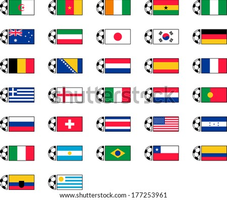 Soccer Ball and Country Flags - stock vector