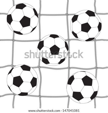 Soccer ball and football net, seamless background - stock vector