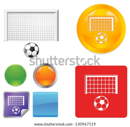 Soccer Ball and Goal Posts vector icon - stock vector
