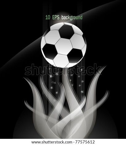 Soccer ball and white flame. 10 AI vector illustration.