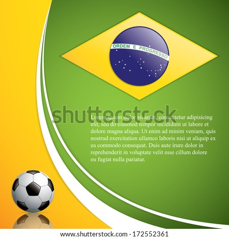 Soccer ball background.Brazil flag concept vector - stock vector