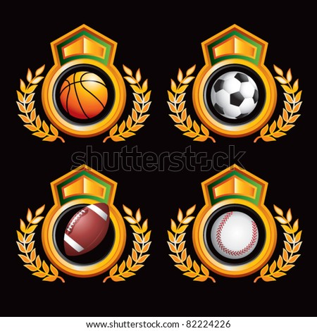 Soccer ball, basketball, football, and baseball in orange and green royal displays - stock vector