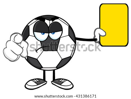Soccer Ball Cartoon Mascot Character Referees Pointing And Showing Yellow Card. Vector Illustration Isolated On White Background