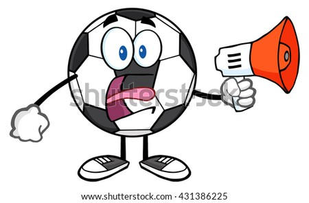 Soccer Ball Cartoon Mascot Character Using A Megaphone. Vector Illustration Isolated On White Background - stock vector
