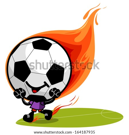 Soccer ball character on fire. A burning soccer ball character cheering and running on the football field. - stock vector