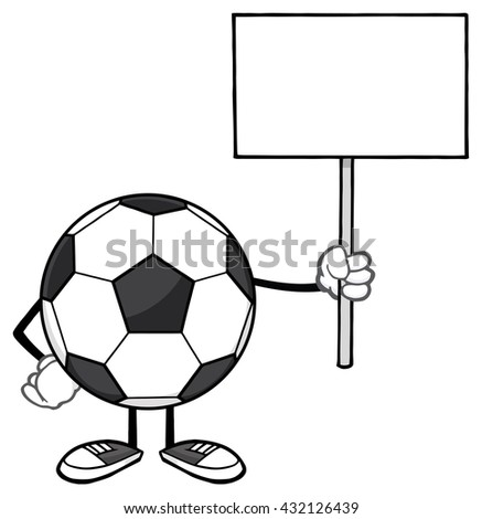 Soccer Ball Faceless Cartoon Mascot Character Holding A Blank Sign. Vector Illustration Isolated On White Background - stock vector