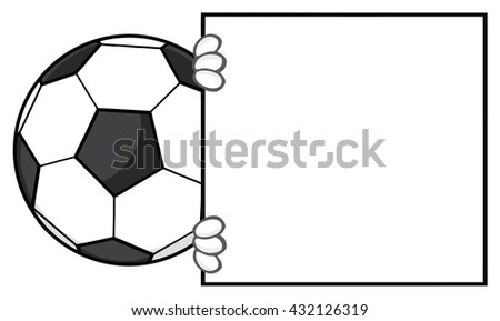 Soccer Ball Faceless Cartoon Mascot Character Looking Around A Blank Sign. Vector Illustration Isolated On White Background - stock vector