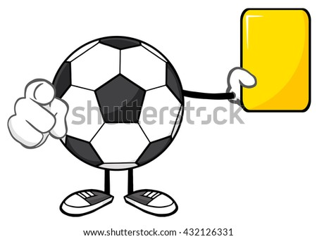 Soccer Ball Faceless Cartoon Mascot Character Referees Pointing And Showing Yellow Card. Vector Illustration Isolated On White Background - stock vector