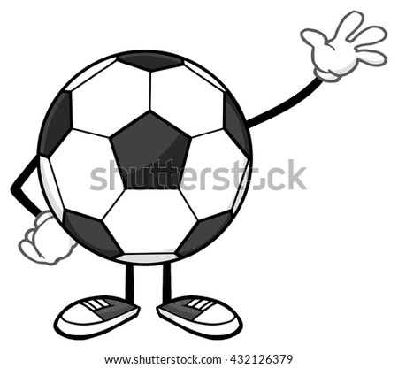 Soccer Ball Faceless Cartoon Mascot Character Waving For Greeting. Vector Illustration Isolated On White Background - stock vector