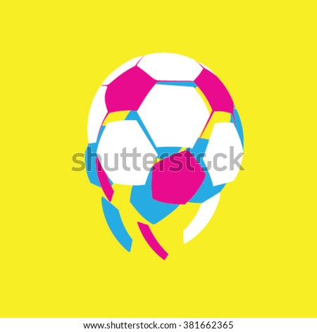 Soccer ball falling apart - abstract - stock vector