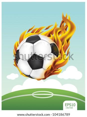 soccer ball fire vector - stock vector