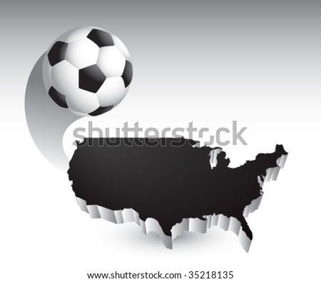 soccer ball flying across america - stock vector