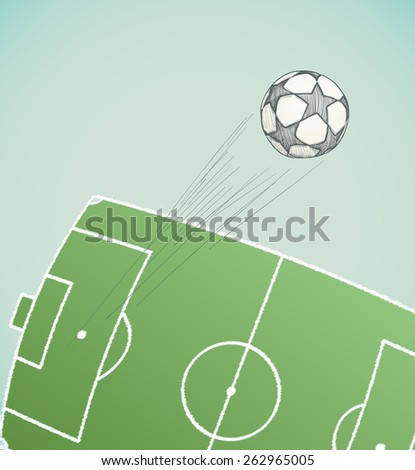 soccer ball flying over stadium hand drawn. vector illustration - stock vector