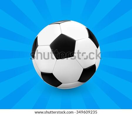 Soccer ball / football on blue background with light rays. Vector illustration. - stock vector